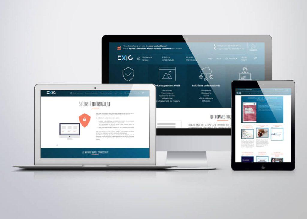 conception et développement du site professionnel d'exig. Design responsive, visible sur mobile, tablette et ordinateur.